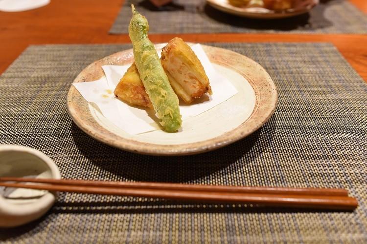 竹の子のえびはさみ揚げ天ぷら@菜家吉