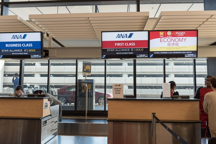 ANAチェックインカウンター@シアトル・タコマ国際空港