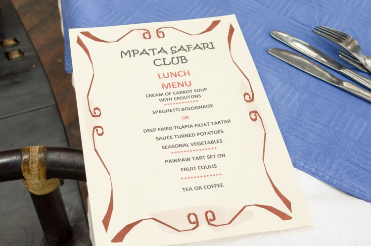 Mpata Safari Club LUNCH MENU