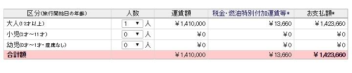 JAL SUITEの運賃