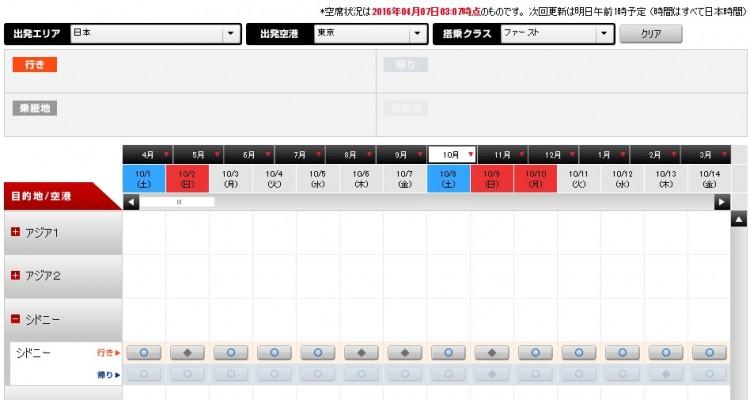 JAL 空席照会カレンダー