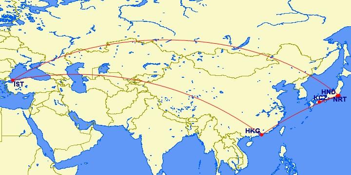 画像引用元: http://www.gcmap.com/mapui?P=kcz-hnd,nrt-ist-hkg-hnd-kcz