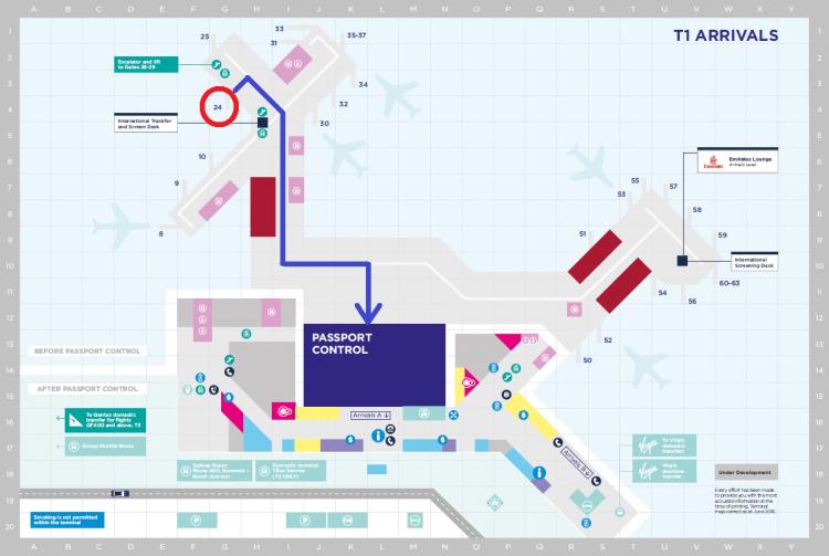 シドニー空港制限エリアMap(T1;到着)