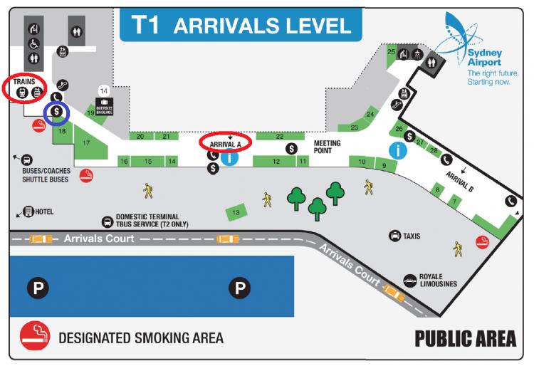 シドニー空港パブリックエリアMap(T1;喫煙所あり)